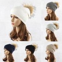 כדור פרווה מלאכותי סרוג נשים כובע חם אופנה סתיו חורף כפת כובע