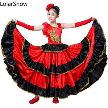 Bambini Flamenco Gonne Da Ballo Per La Ragazza Spagnolo Senrite di Flamenco Spagnolo Ballerina di Flamenco Vestito Operato Costume