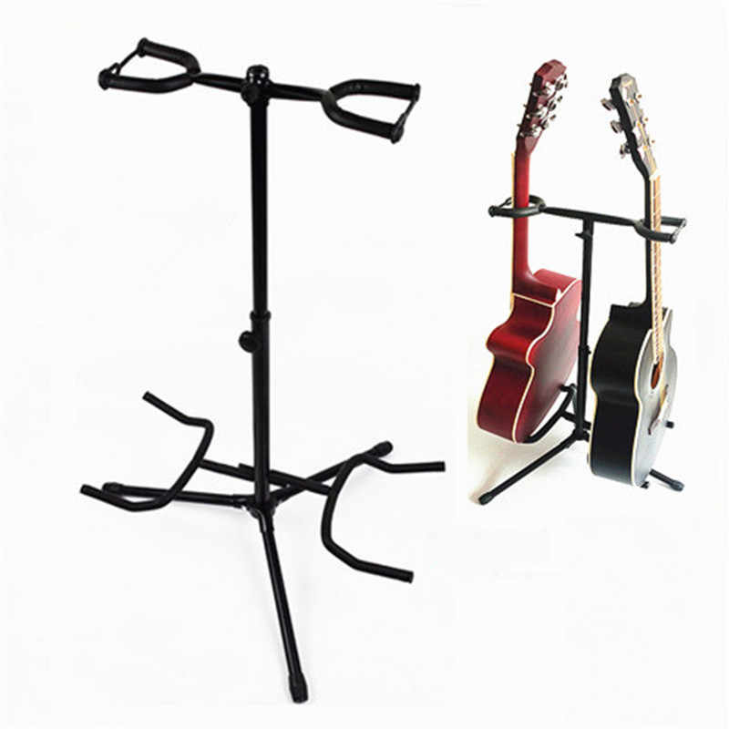 2 in 1 Guitar Stand Music Folding Stand Padded for Acoustic Electric Bass Guitar Studio Hanger