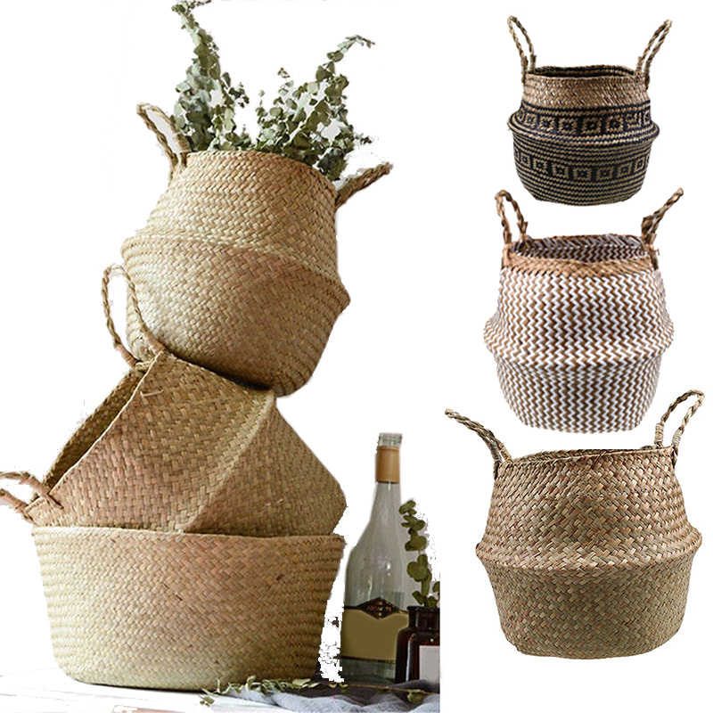 S/M/L Seagrass Wickerwork Basket Rattan Folding Hanging Flower Pot Planter Woven Dirty Laundry Hamper Storage Basket Home Decor
