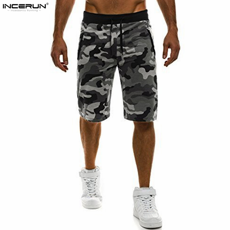 INCERUN Gyms Bodybuilding Workout Joggers Camouflage Shorts Men Military Short Pants Camouflage Camo Casual Mens Shorts