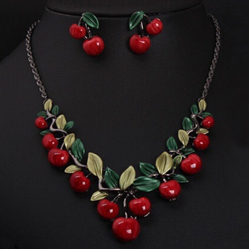 1 Satz Vintage Red Cherry Fruit Schmuck Set Chic Braut Halskette Ohrringe Schnelle WäRmeableitung