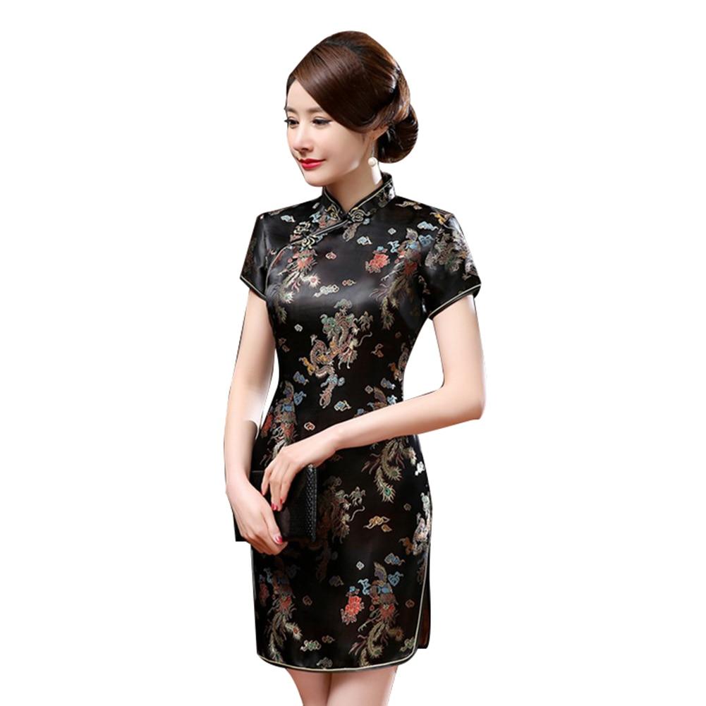 Ethnic Fashion Women Chinese Dragon Phoenix Stand Collar Slim Cheongsam Dress