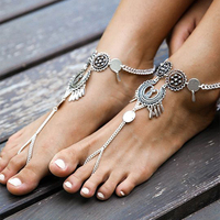 Lady Vintage Hollow Out Flower Teardrop Dangle Ankle Chain Beach Foot Jewelry