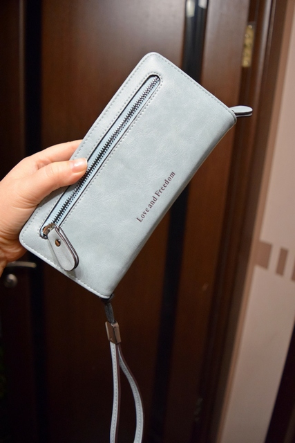 Women Clutch 2019 Leather Wallet Female Long Wallet Big Capacity Zipper Purse Strap Money Bag Coin Purse Carteira Feminina photo review