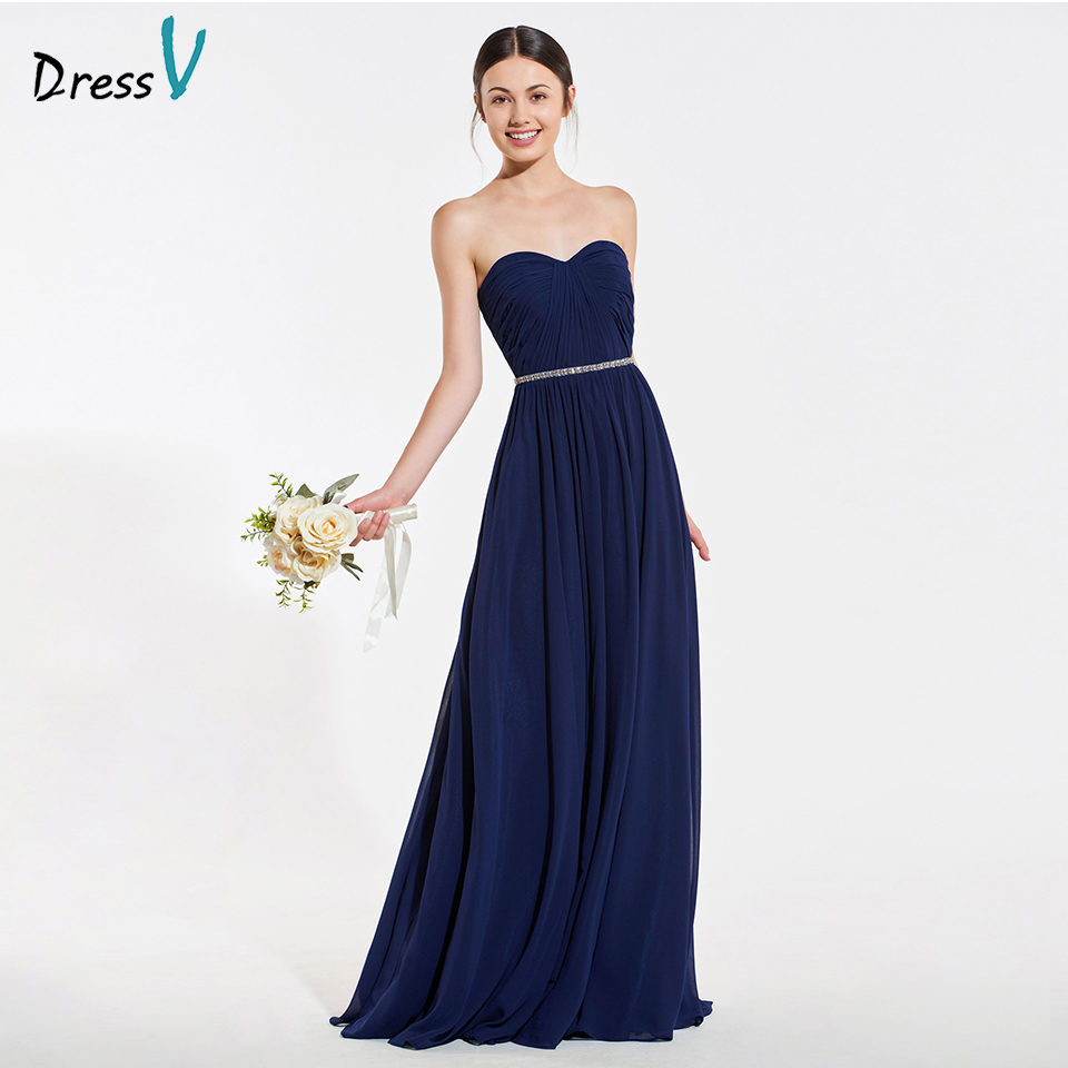 Dressv elegant light navy beading bridesmaid dress pleats a line wedding party women floor length bridesmaid dress