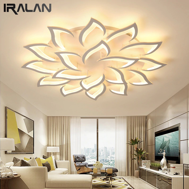 IRALAN Lustre Modern Led Chandeliers Lights For Living Room Kitchen Bedroom Kids' Room  Dimmable Art Deco Remote Control White