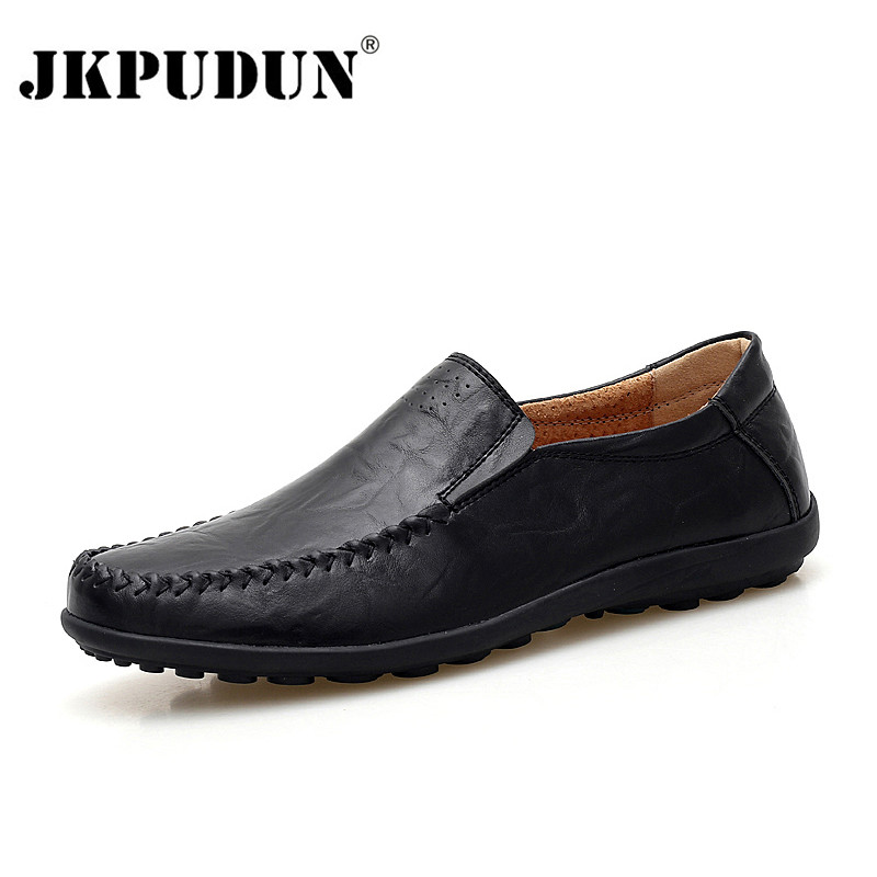 JKPUDUN Italian Mens Shoes Casual Brands Genuine Leather Men Loafers Luxury Moccasins Comfy Breathable Slip On Boat Shoes Men