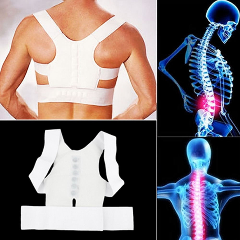White Comfortable Magnetic Posture Support Corrector Back Pain Belt Brace Shoulder Release Pain From Illness Health Care