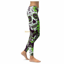 LIME GREEN SUGAR SKULL LEGGINGS 2017 New Women Pants Fashion 3D Print Straight Elastic Waistband