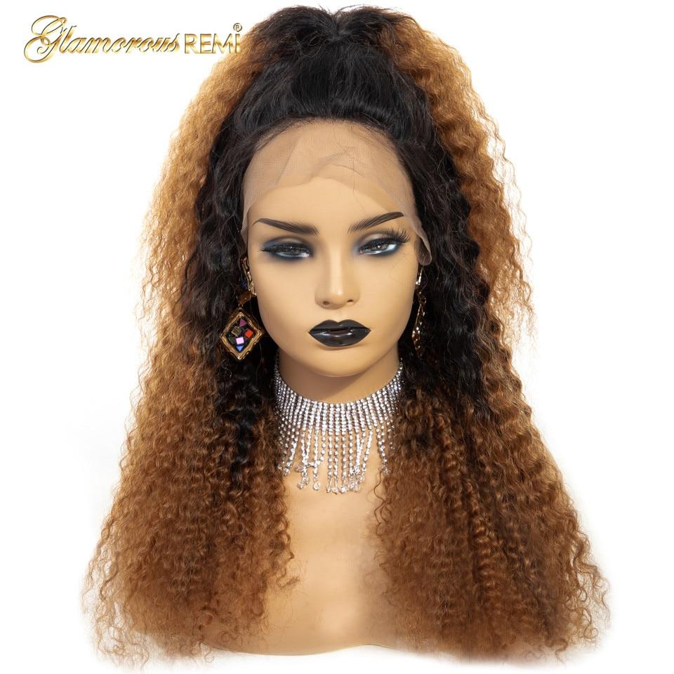 Кружевные передние бразильские человеческие волосы парик африканские кудрявые вьющиеся волосы remy Омбре коричневые кружевные передние парики с детскими волосами для черных женщин - 2