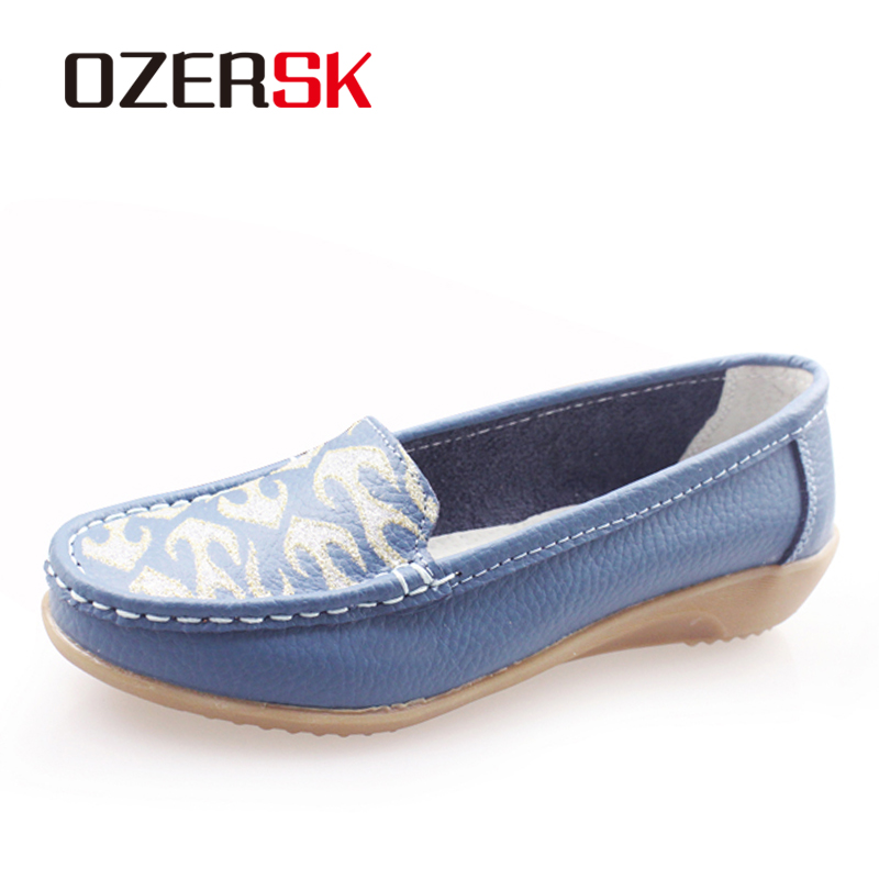 OZERSK Casual Woman Shoes Cow Leather Woman Flats Shoe Fashion Moccasins Female Loafers Slip On Boat Shoes Leisure Mother Shoes 2017 summer new women fashion leather nurse teacher flats moccasins comfortable woman shoes cut outs leisure flat woman casual s