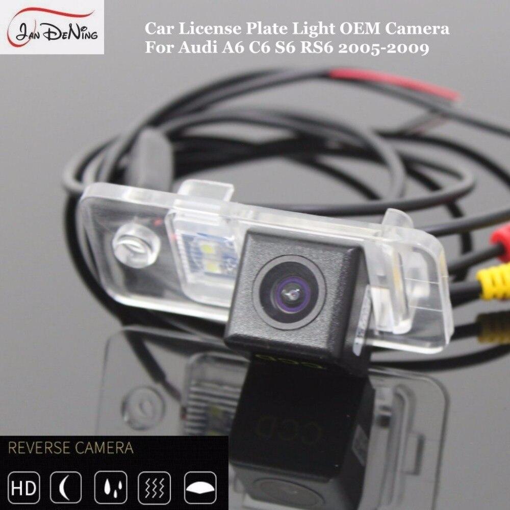 JanDeNing HD CCD Автомобильная камера заднего вида/CCD камера заднего вида/номерной знак света OEM водонепроницаемый для Audi A6 C6 S6 RS6 2005 2009