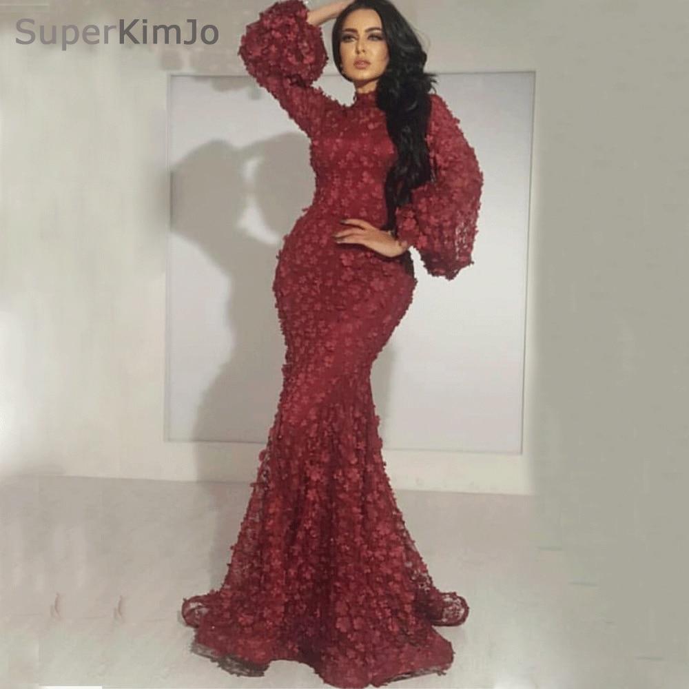 SuperKimJo Vestido De Festa Longo High Neck Burgundy Evening Dresses ...