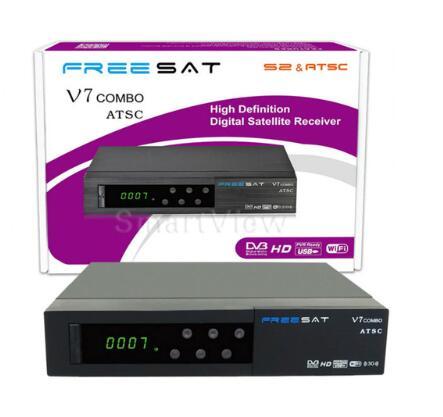 Freesat V7 Combo ATSC satellite receiver DVB-S2 + ATSC powervu Biss key cccam newcam YouTube цена