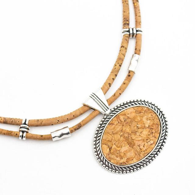 Natural Cork Necklace with Oval Shaped Pendant