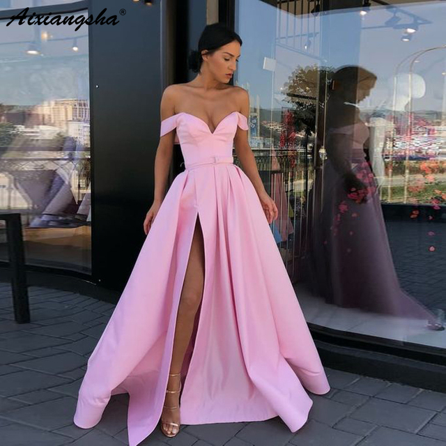 Sweetheart A-Line Off the Shoulder Satin Yellow Prom Dress with Slit Pockets vestido de fiesta Long Prom Dresses 2019