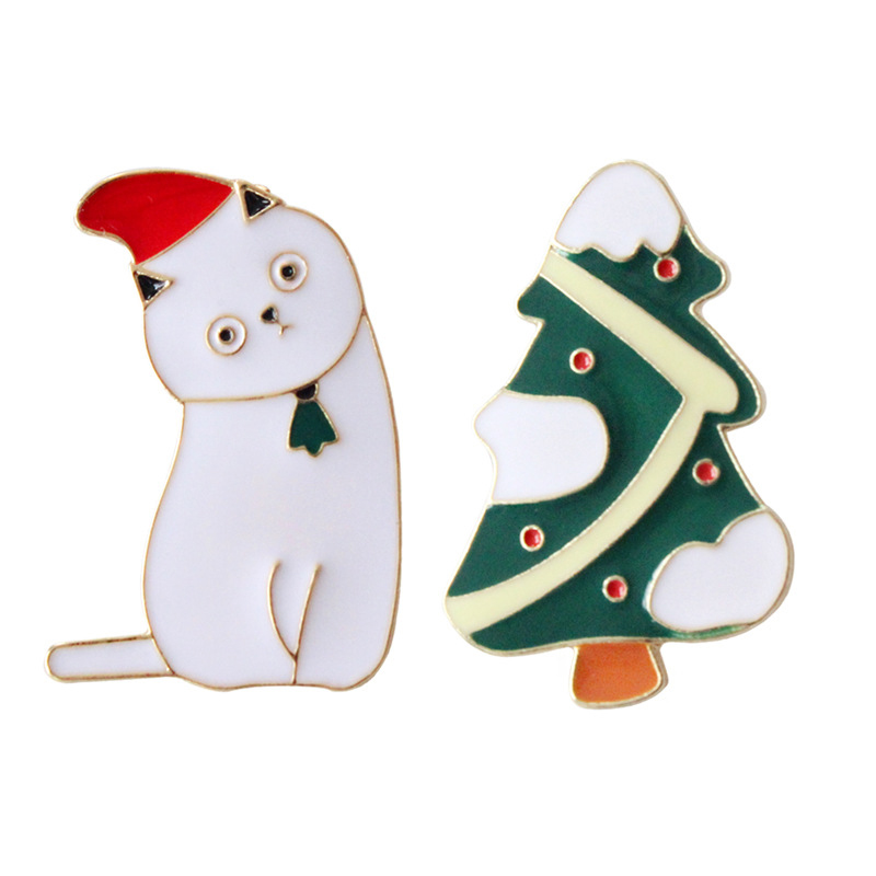 Brooches New Cute Cartoon Brooches Funny Christmas Tree Cat Cool Enamel Brooch Pins Jean Bag Women Fashion Jewelry Accessories Wholesale Jewelry Sets & More
