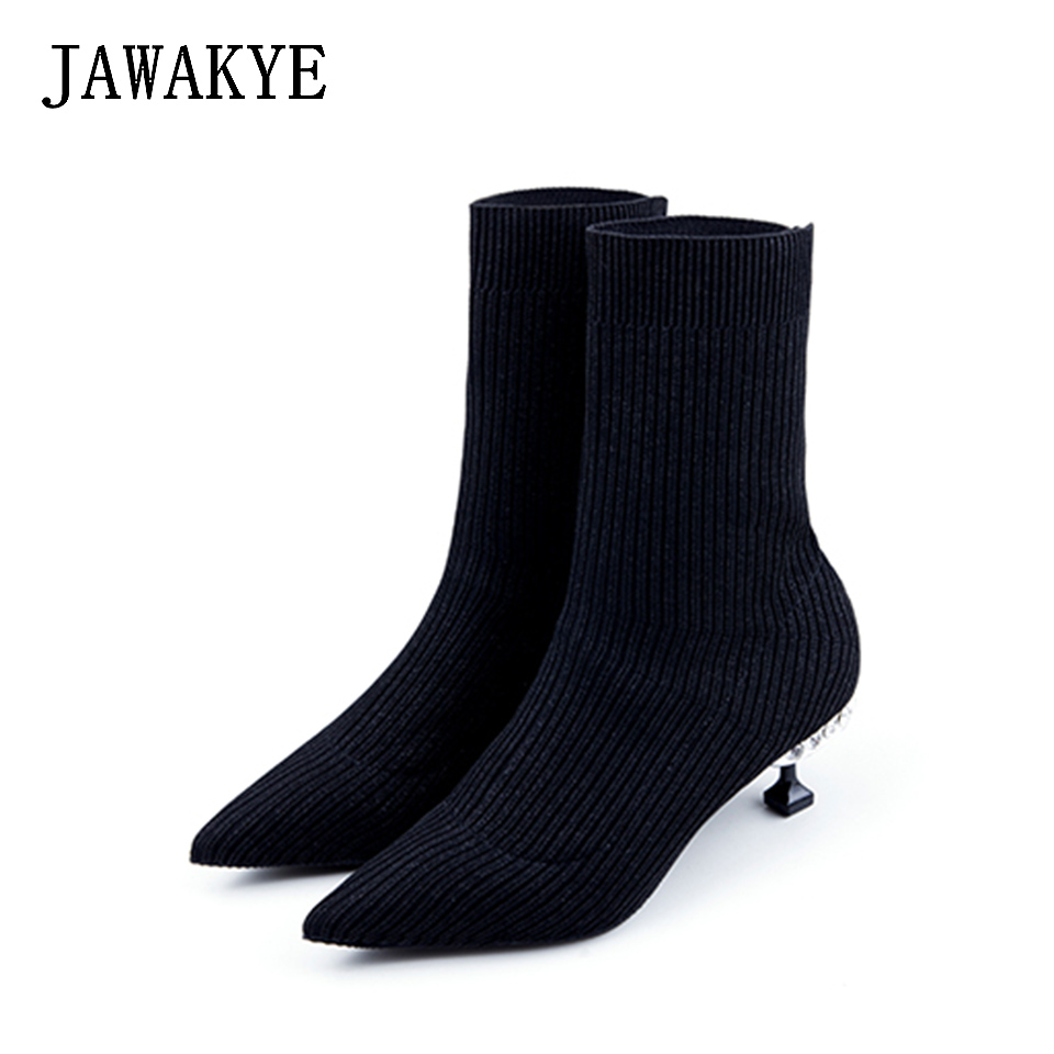 2018 Knitted Sock Ankle Boots for Women Pointed toe Slim Slip on Kitten high heels Elastic ladies short boots Sock Shoes Woman 2018 Knitted Sock Ankle Boots for Women Pointed toe Slim Slip on Kitten high heels Elastic ladies short boots Sock Shoes Woman