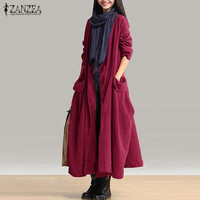 2017 ZANZEA Women Autumn Long Sleeve Cotton Linen Coat Loose Casual Long Cardigan Solid Full Length
