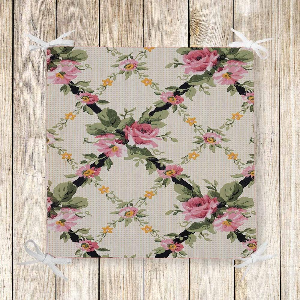 Else Beige Green Ivy Pink Rose Flower 3d Print Square Chair Pad Seat Cushion Soft Memory Foam Full Lenght Ties Non Slip Washable