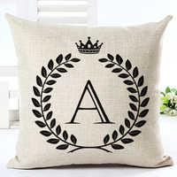 High Qualtity Letter Cartoon Cushion Home Decor Cojines Sofa Throw Pillow Printed Cotton Linen Square Almofadas