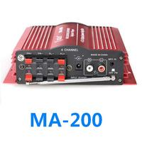 MA200 4CH 4 Channel Home Car HiFi Audio Power MP3 Amplifier With Remote Control USB SD