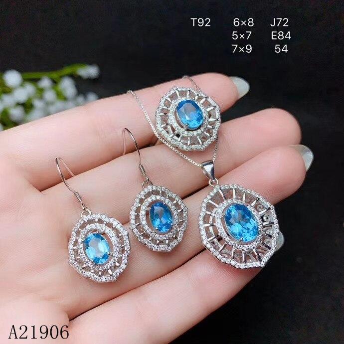 KJJEAXCMY Fine bijoux 925 en argent sterling incrusté de topaze naturelle pierre gemme femelle anneau collier pendentif oreille crochet ensemble support revie