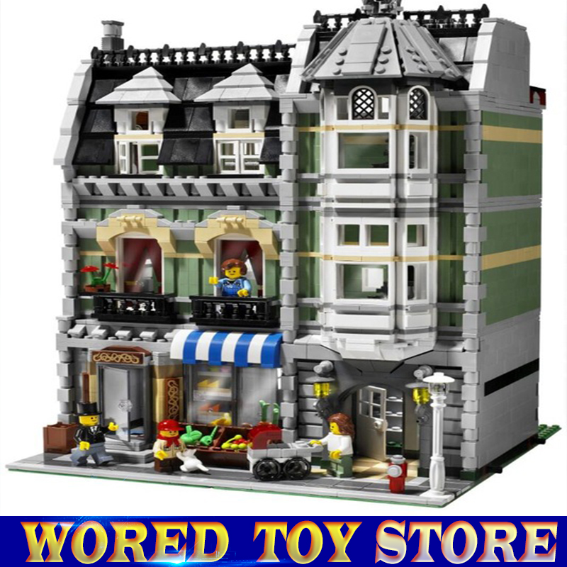 Lepin 15008 2462Pcs City Street Green Grocer Model Building Kits Blocks Bricks Compatible legoed Educational toys 10185 lepin 15008 new city street green grocer model building blocks bricks toy for child boy gift compatitive funny kit 10185 2462pcs
