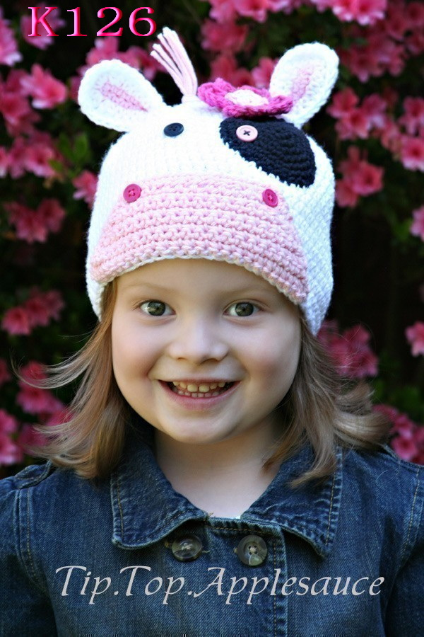 Hecho a mano Crochet bebé vaca orejas sombrero niños invierno sombrero fotografía Prop bebé sombrero infantil gorro de animal