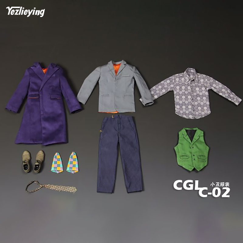 1/6th Scale joker action figure toys The Dark Knight Batman Villain purple Clothes suit model collection not include head body 1 6 figure doll head shape for 12 action figure doll accessories batman joker red hair head carved not include body clothes