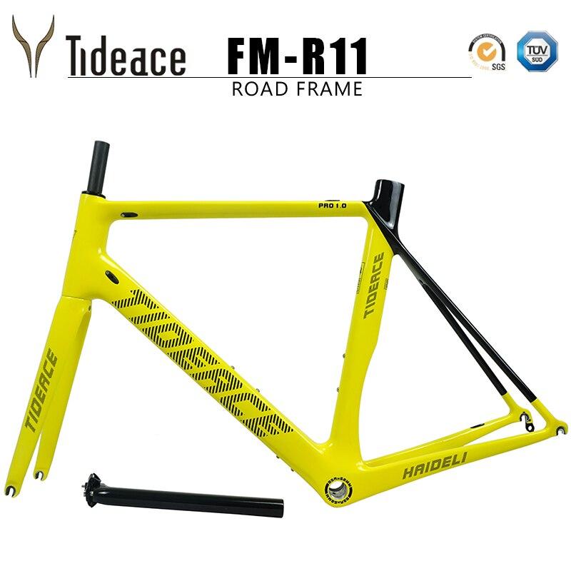 2018 Tideace en fiber de carbone cadre de la bicyclette vélo de route cadre carbone super bonne qualité racing route frameset BSA personnaliser la couleur