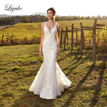 Liyuke Marvelous  Mermaid Wedding Dress Natural Factors Buttons Closure V-neckline Vestido De Noiva