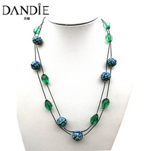 Dandie long chain acrylic bead polymer clay necklace, trendy cheap jewelry new arrival
