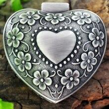 Caja de joyería Vintage con forma de corazón caja de regalo de boda caja de tesoro de metal organizador de joyas organizador de maquillaje cumpleaños regalo de San Valentín
