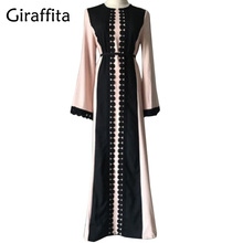 Giraffita Vintage Women Slim Summer Casual Dress Long Abaya Sleeve Soft Dress For Kaftan Islamic MuslimTurkish Arabic Appliques