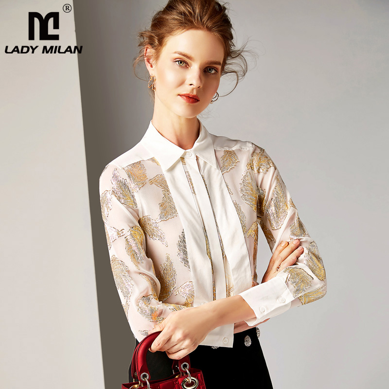 2019 100% Pure Silk Women's Runway   Shirts   Turn Down Collar Dobby Floral High quality   Blouse     Shirts