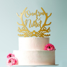 Wedding Cake Topper, Topper for Wedding, Surname Personalized with Bride and Groom Names