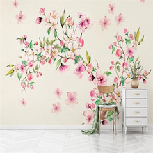 Romantic garden style watercolor flowers hand-painted background wall paper professional production wallpaper mural custom photo