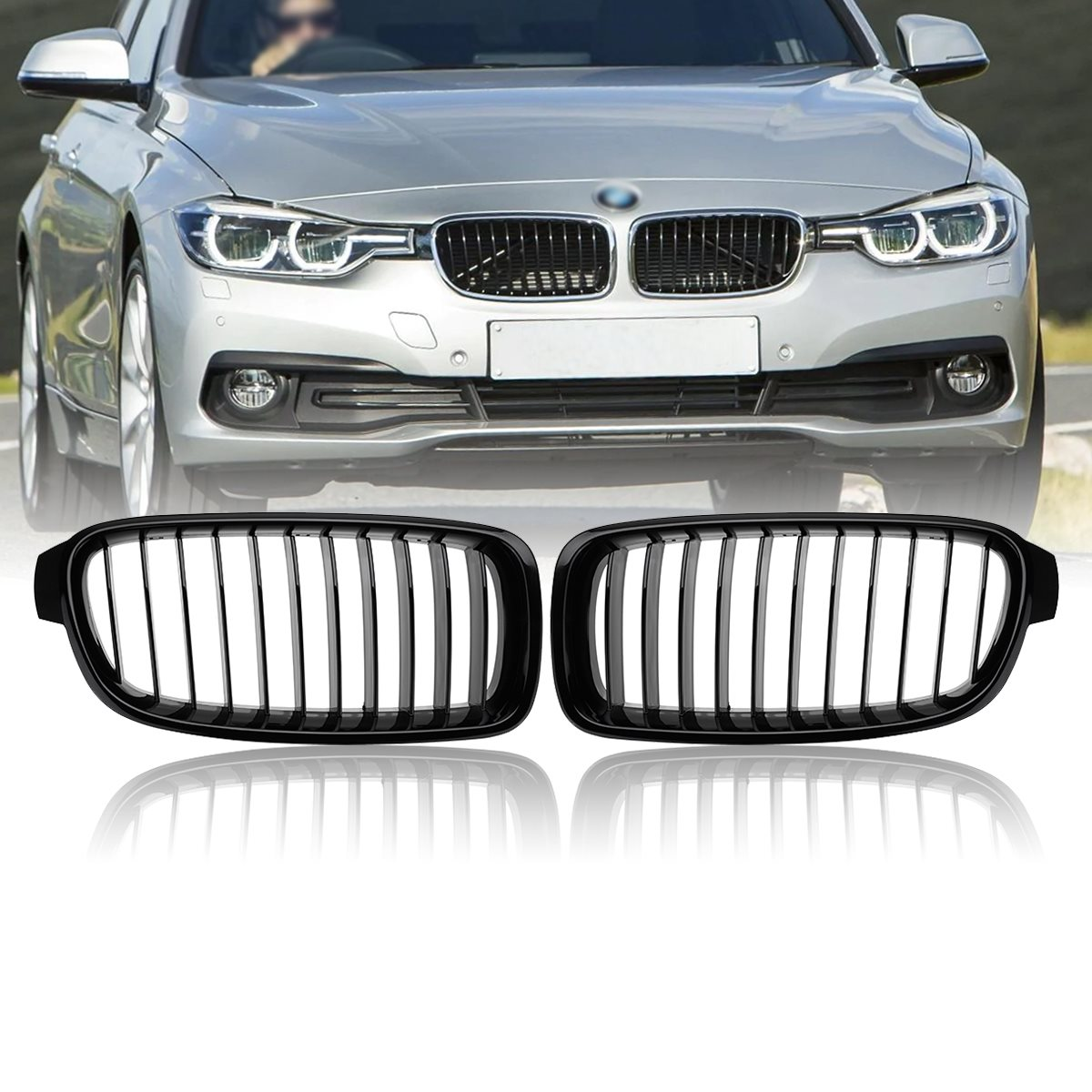 2Pcs Gloss Black Car Front Kidney Grilles For BMW F30 F31 3 Series Saloon 2012 2013 2014 2015 Racing Grills 1 pair gloss black front kidney grilles grill car styling racing grills replacement grilles for bmw f30 f31 f35 320i 2012