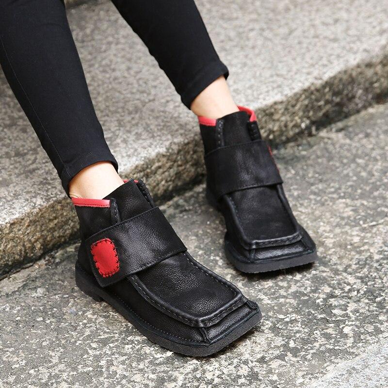 2018 VALLU Bout Carré Femmes Chaussons En Cuir Véritable Femelle Cheville Bottes Bande Magique Vintage Design Madame Chaussures À Talons Hauts