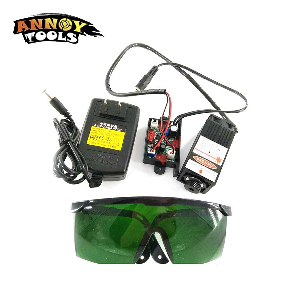 450nm 2500 mw 12 v Haute Puissance TTL Mise Au Point Réglable Laser Bleu Module DIY Laser graveur accessoires 2.5 w laser tête + lunettes