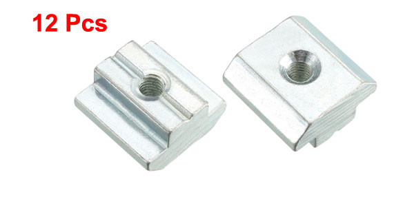 M8 45 Series Metal T-Slot Slide in T-Nut Silver Tone 12pcs