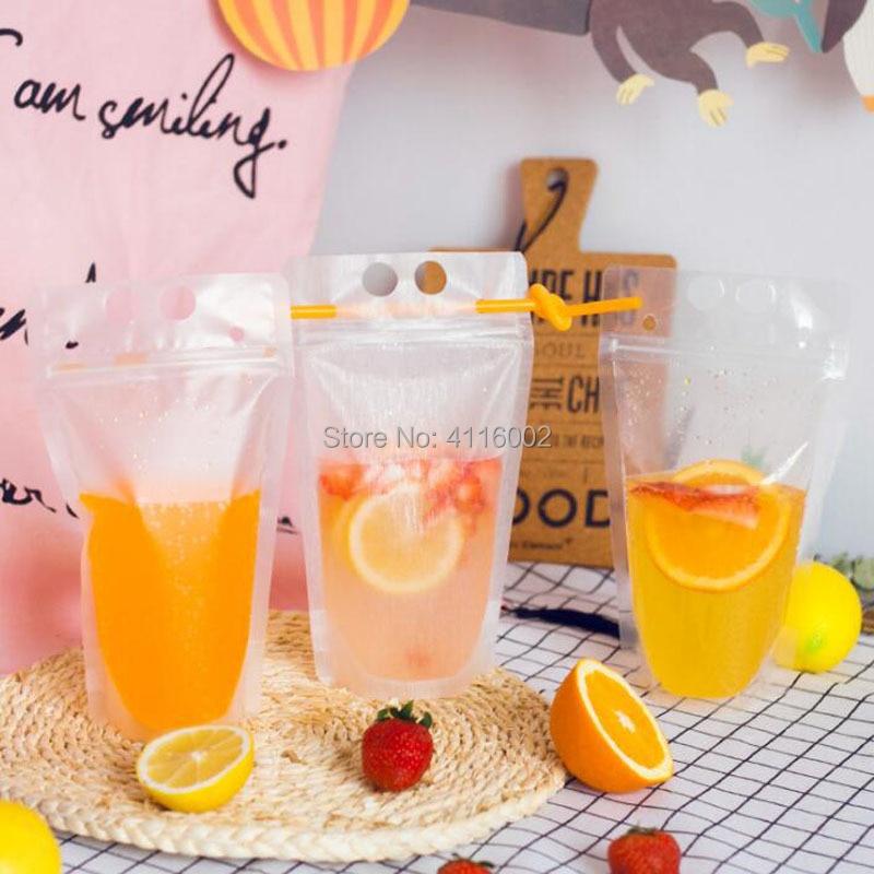 1000pcs Transparent Self sealed Plastic Beverage Bag Drink Milk Coffee Container Drinking Fruit Juice bag Food