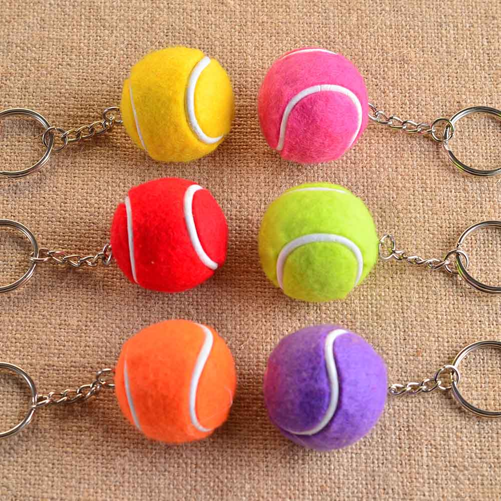 New 6 Color Pendant Tennis Rackets Keychain With Ball Fashion Accessories Souvenir Gift