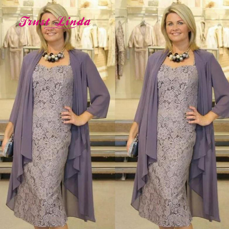 Us 107 37 10 Off Grey Mother Of The Groom Dresses Tea Length Mothers For Wedding Bride Plus Size With Jacket In