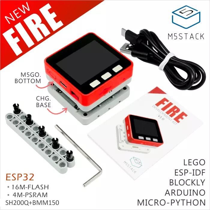 M5Stack NEW PSRAM 2.0! FIRE IoT Kit Dual Core ESP32 16M-FLash+4M-PSRAM Development Board MIC/BLE SH200Q+BMM150 of Micropython feature phone