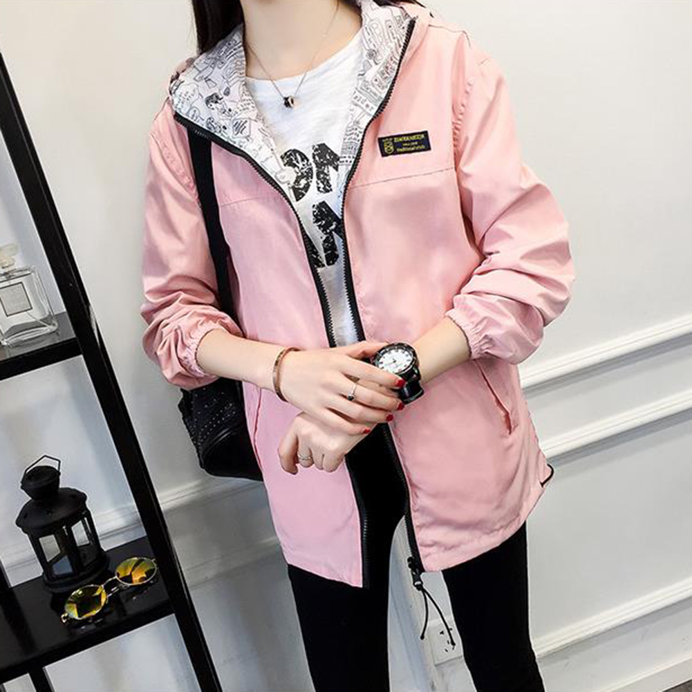 Fashion Girls Hooded Zipper Casual Coat Double side Wearing Long Sleeve Blouse