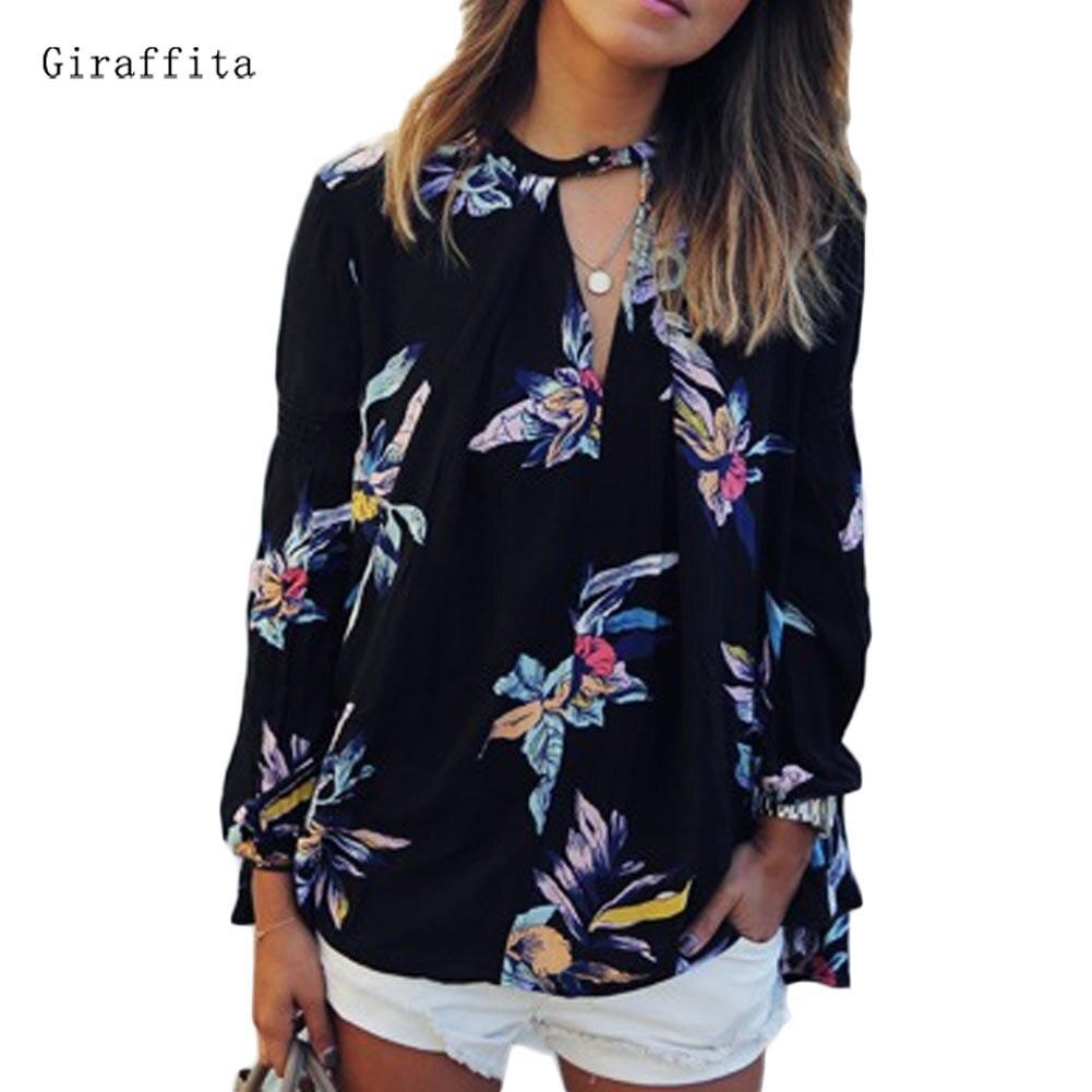 Giraffita Лидер продаж Для женщин Летняя одежда полуоткрытым воротник с цветочным принтом тонкая рубашка с длинными рукавами ...