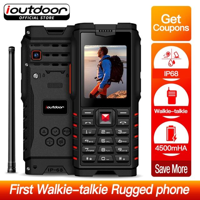 Ioutdoor T2 IP68 עמיד למים עמיד הלם מוקשח טלפון מכשיר קשר טלפון תמיכת בנק כוח פנס 4500 mAh רוסית מקלדת